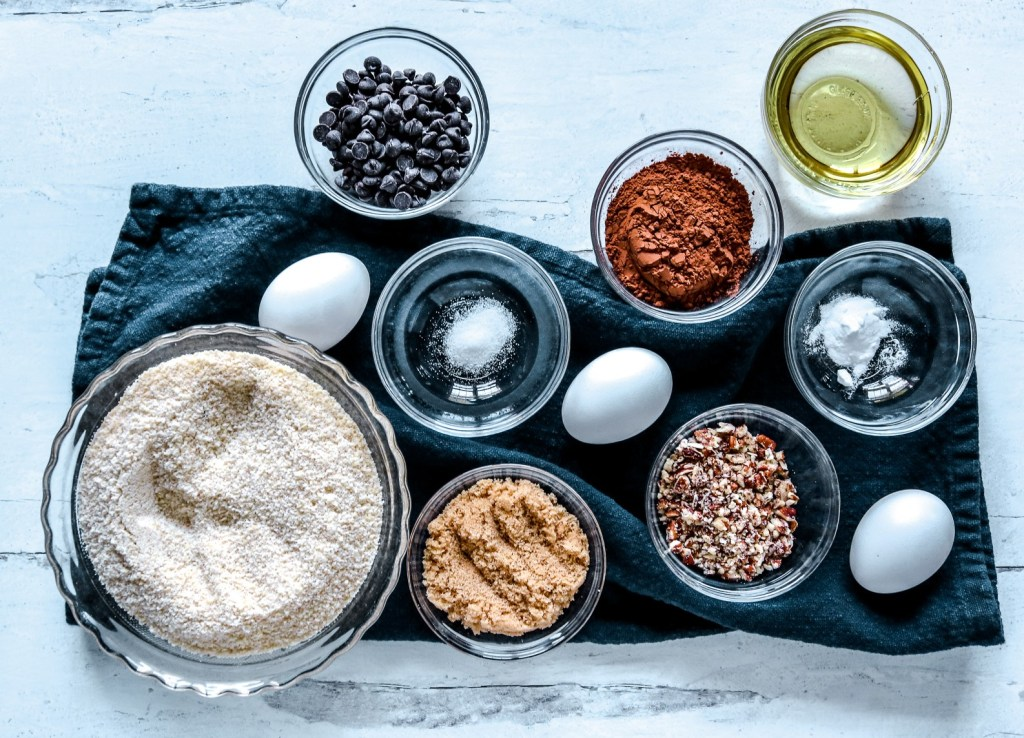 Ingredients for Keto Chocolate Pecan Muffins