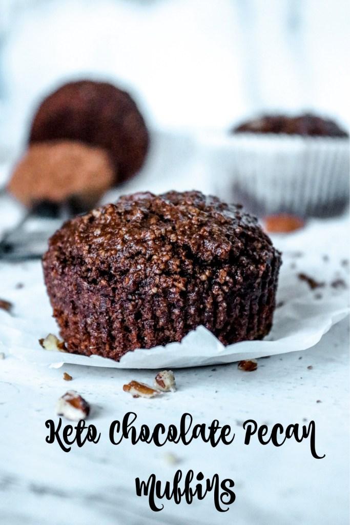Keto Chocolate Pecan Muffins closeup