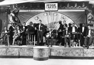 1928 – Bennie Carter & His Savoy Playboys on the Savoy Ballroom bandstand. Source: unknown.