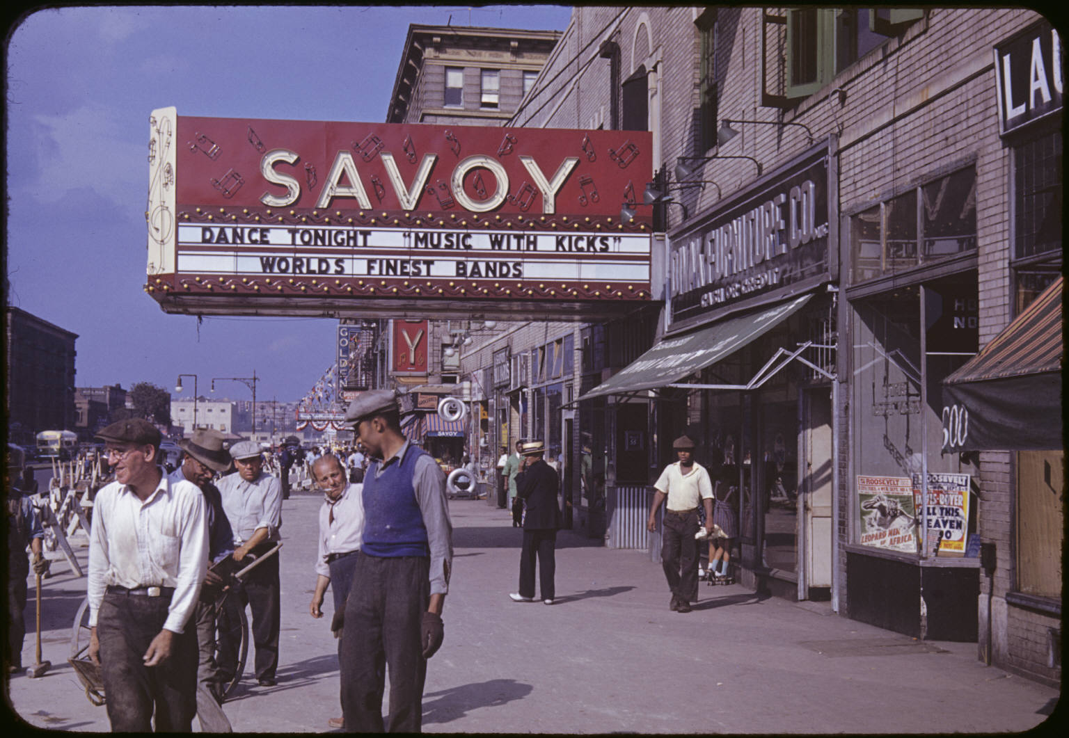 1939 – Savoy Ballroom marquee in the day time, original colour photograph, not retouched. Source: Unknown.