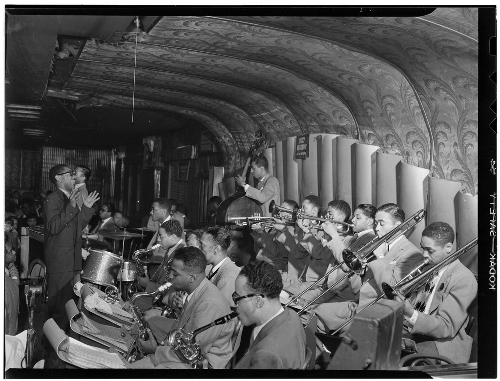 c.1946-1948 Dizzy Gillespie's Orchestra on the Savoy bandstand. Source: photo by William P. Gottlieb, Library of Congress.