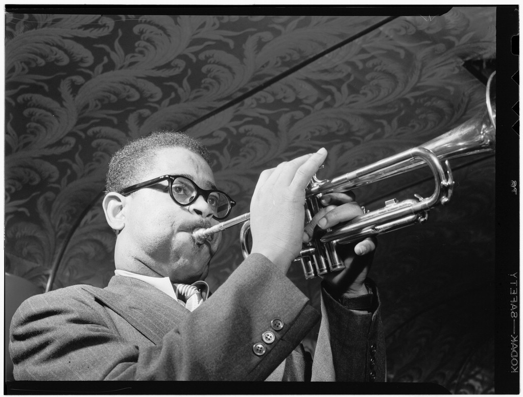 1947 –  May 1947, Dizzy Gillespie. Source: photo by William P. Gottlieb, Library of Congress.
