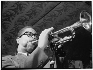 1947 - May 1947, Dizzy Gillespie. Source: photo by William P. Gottlieb, Library of Congress.