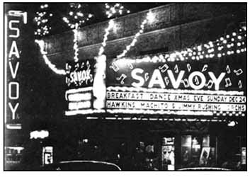 """1950 – Savoy Marquee announcing """"Breakfast Dance Xmas Eve"""" circa 1950. Source: unknown."""