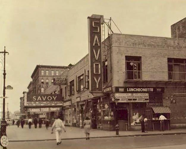 Undated – External view of Savoy Ballroom from corner of Lenox Avenue & 140th Street. Source: unknown.