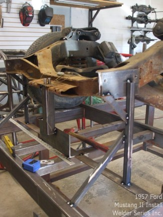 Once the chassis was sitting at ride height, Garth started to make fixtures for fender mounts and the radiator support.