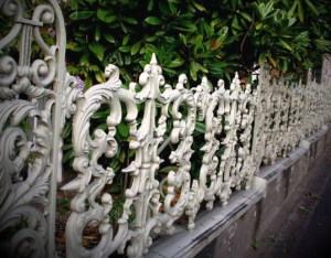white cast iron fence