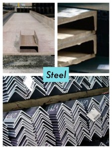 3 examples of steel beams and bars