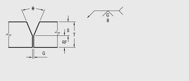 single V groove weld joint parameters in 1.2 and 1.6 mm
