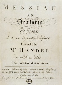 Musical score for the oratorio Messiah, by German-British composer George Frideric Handel 1685-1759. Title page. Printed by Messers Randall & Abell, London, 1747. Civico Museo Bibliografico Musicale, Bologna Italy. (Photo by: Leemage/UIG via Getty Images