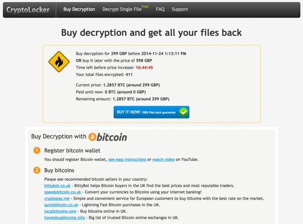 TorrentLocker payment page