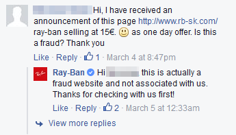 Buying Ray-Bans  Don t fall for this Facebook scam – ESET Ireland b5b560aafe