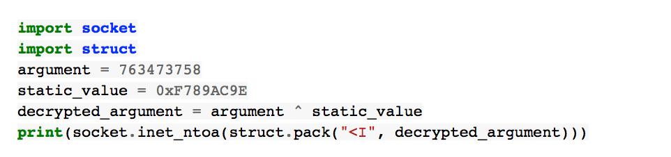 Descifrado de la dirección IP del servidor de C&C