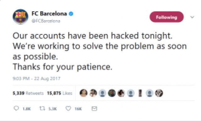 Barcelona statement on the hack