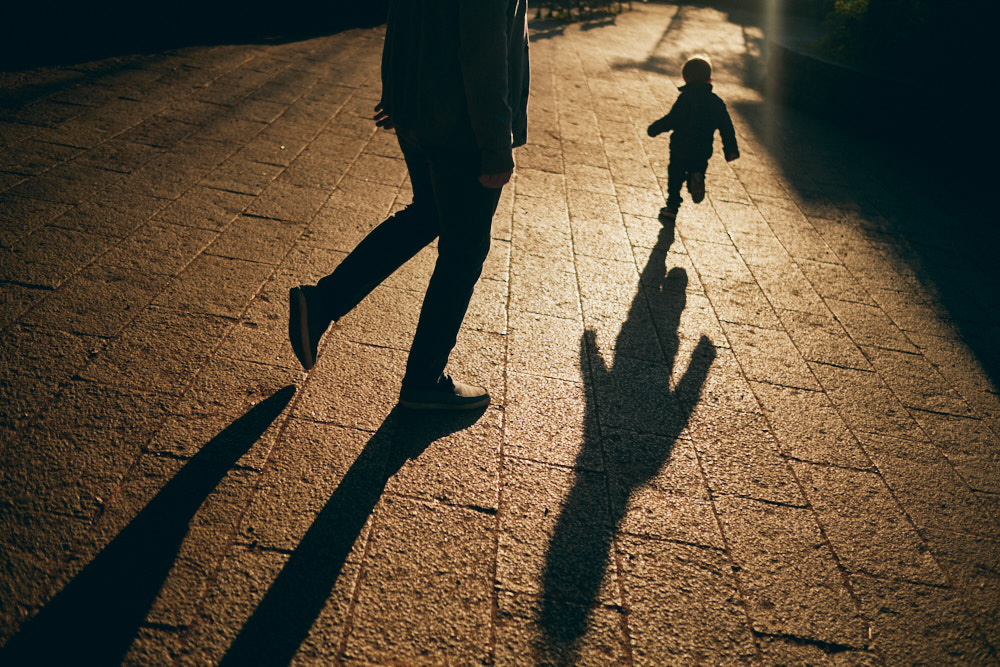 Morning walk home with Andy Faulk and his son