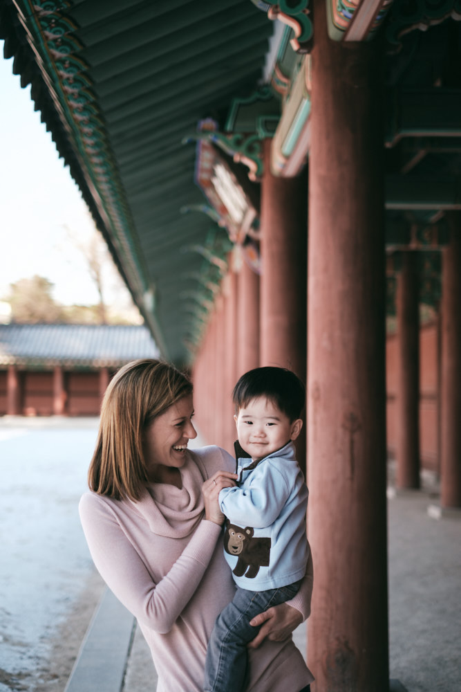 Aiden with his mother - DeVito Family Photos at Changdeokgung in Seoul
