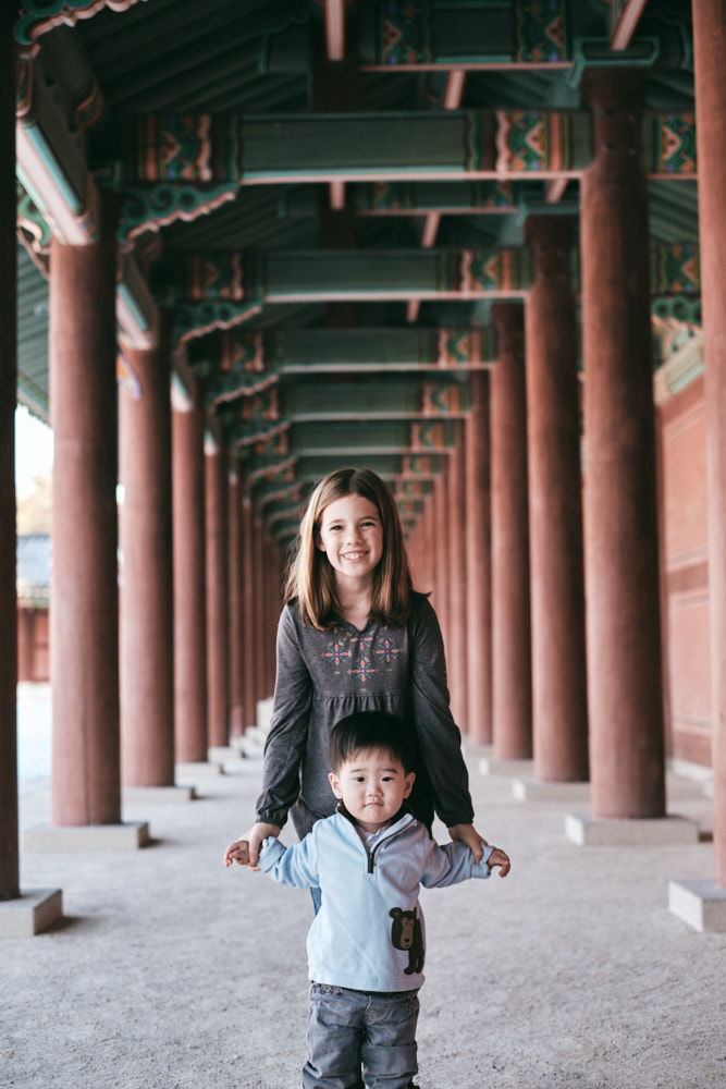 Aiden and Sophia - DeVito Family Photos at Changdeokgung in Seoul