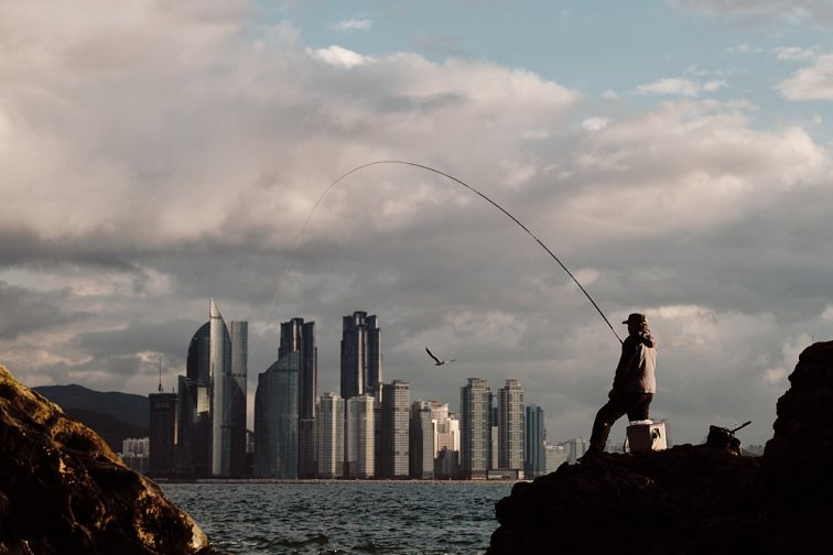 A Fisherman Fishing with the Busan Skyline