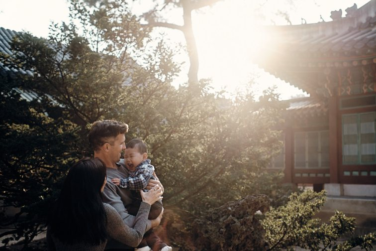 Family Portrait in Setting Sun