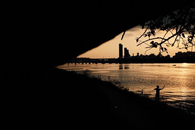 Fisherman at Sunset - Han River, Seoul