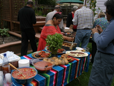 Laramie and Yolanda at the Gazpacho table