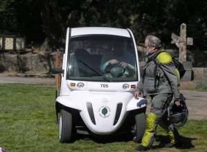 flash gets a ride in the electric cart provided by the park service