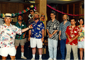"""""""Don't forget """"Most Gawd-awful Yet Wonderful Aloha Shirt"""" [award] to (pbs) who looked lovely in Caribbean-motif garb. -- (ode) """"It was the """"let's limbo"""" written on it that really made it something special."""" -- (goodston)"""