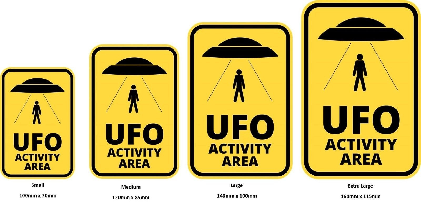 Funny Warning Sign Danger Alien Ufo Activity Area Sticker Self Adhesive
