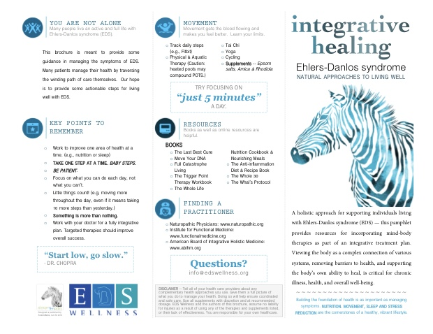 The newly redesigned EDS Integrative Healing Brochure (front)