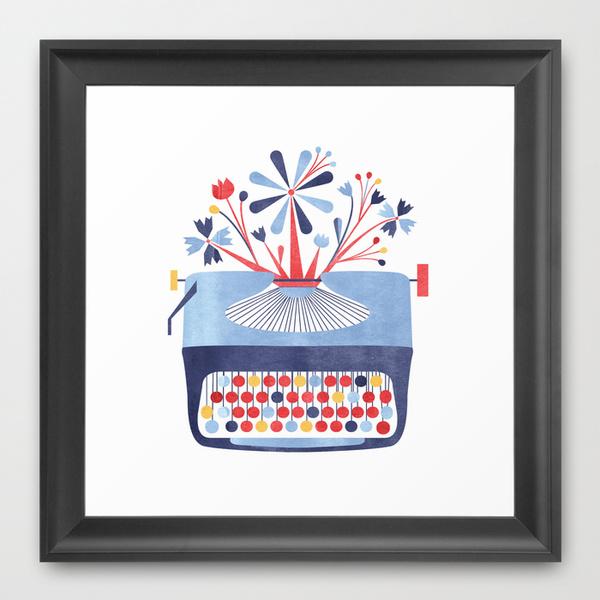 Typerwriter Spring Flowers Framed Print