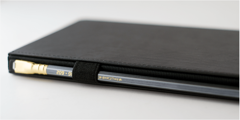 Blackwing Slate profile view with elasitc pencil loop