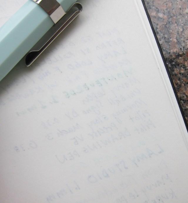 Pen & Ink Sketchbook  reverse of writing sample