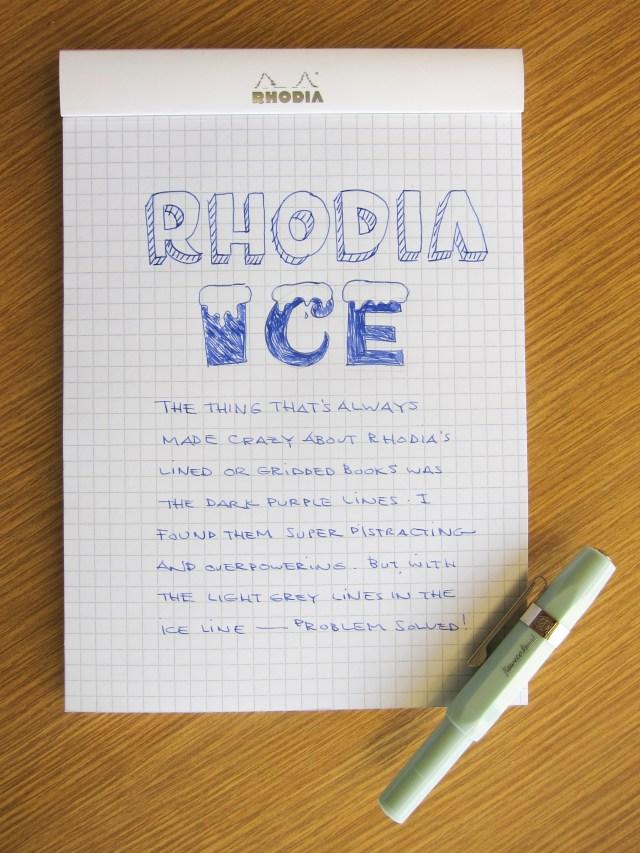 Rhodia Ice writing sample