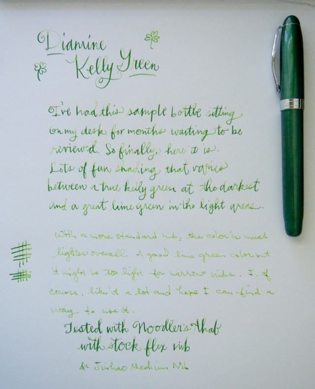 Diamine Kelly Green Ink Writing Sample