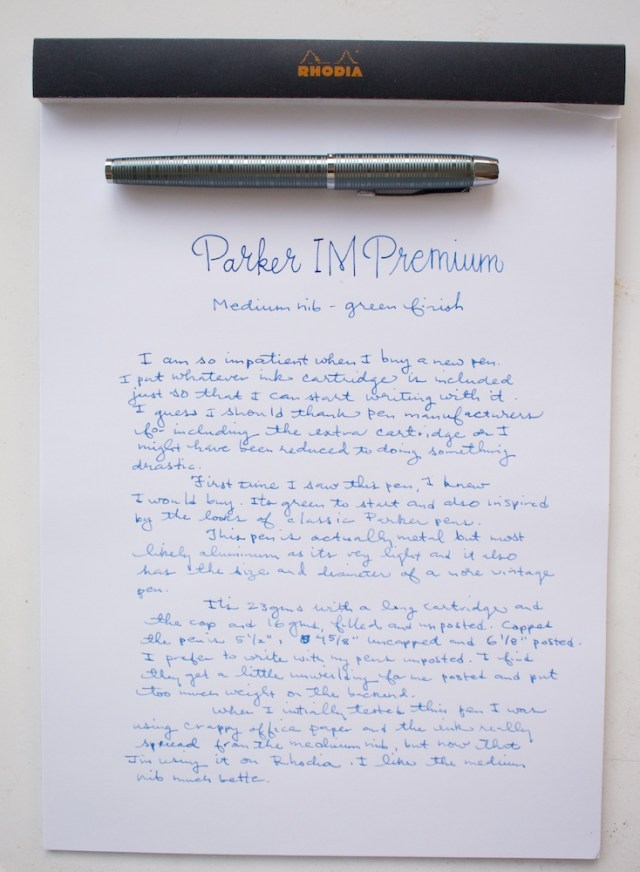 Parker IM Premium Fountain Pen Medium Writing Sample