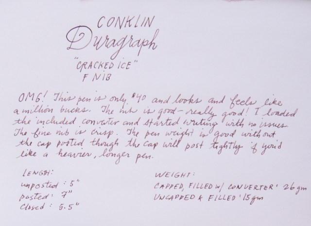 Conklin Duragraph Cracked Ice Writing sample