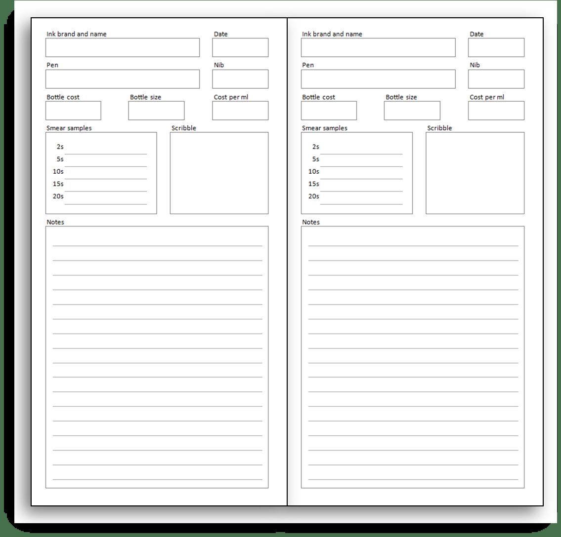 pen & ink sampler pages for MTN