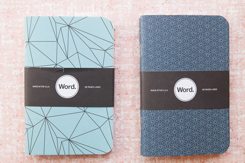 Word. Notebooks in polygon and indigo
