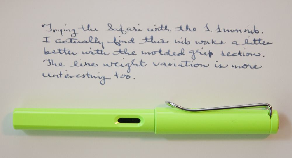 Lamy Neonlime writing sample