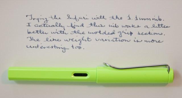 Lamy Neonlime writing sample
