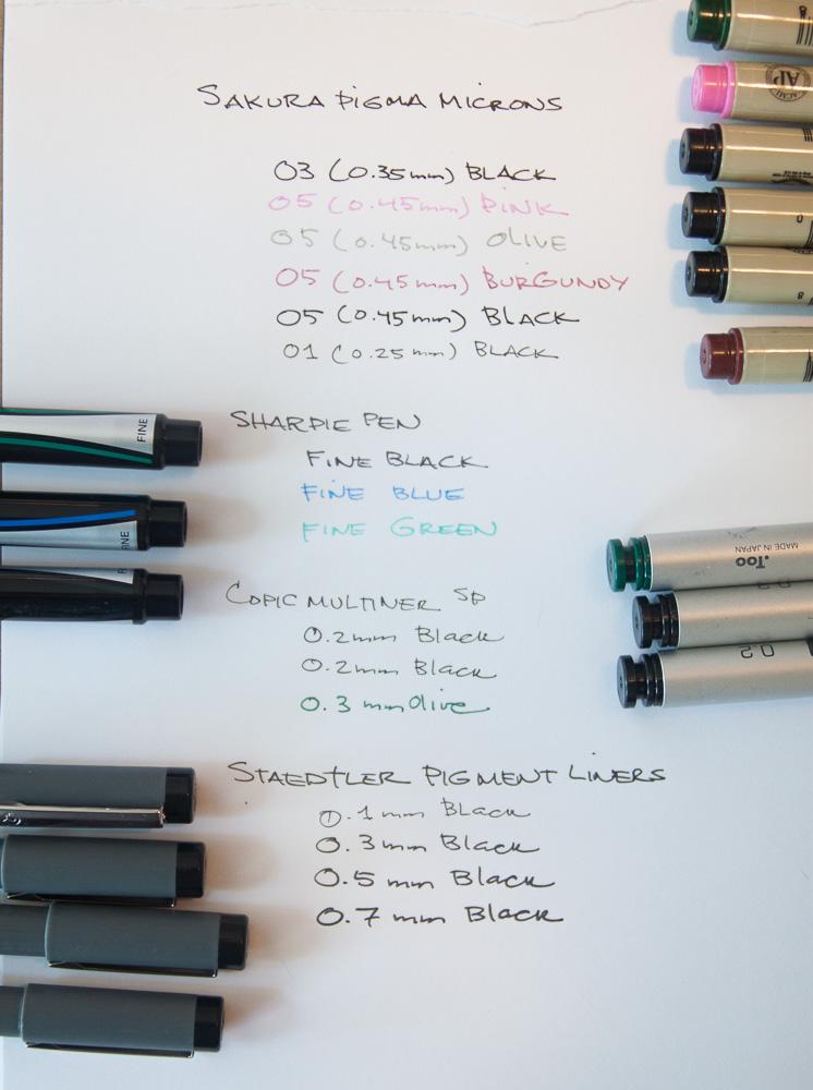 Pigment Pen Comparison