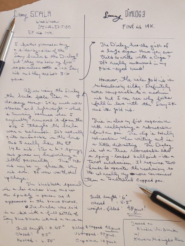 Lamy Scala Blueblack Special Edition and Lamy Dialog 3 writing samples