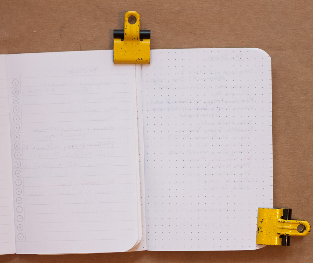 Word Notebooks: Dot Grid and Declan writing from reverse