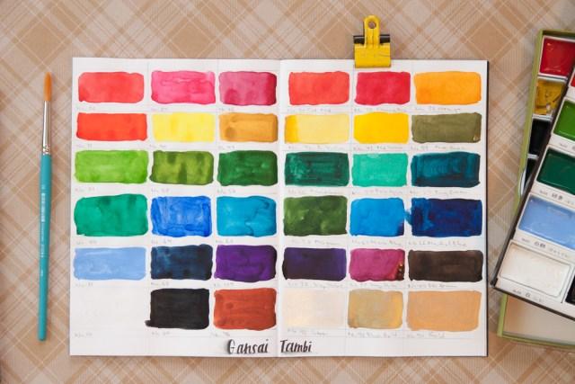 Kuretake Gansai Tambi Watercolor Color Swatches