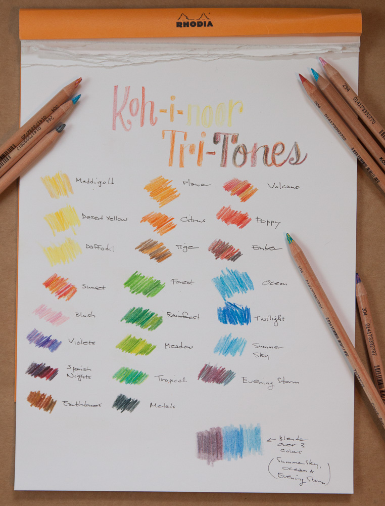 Koh-i-noor tri-tone colored pencils sample