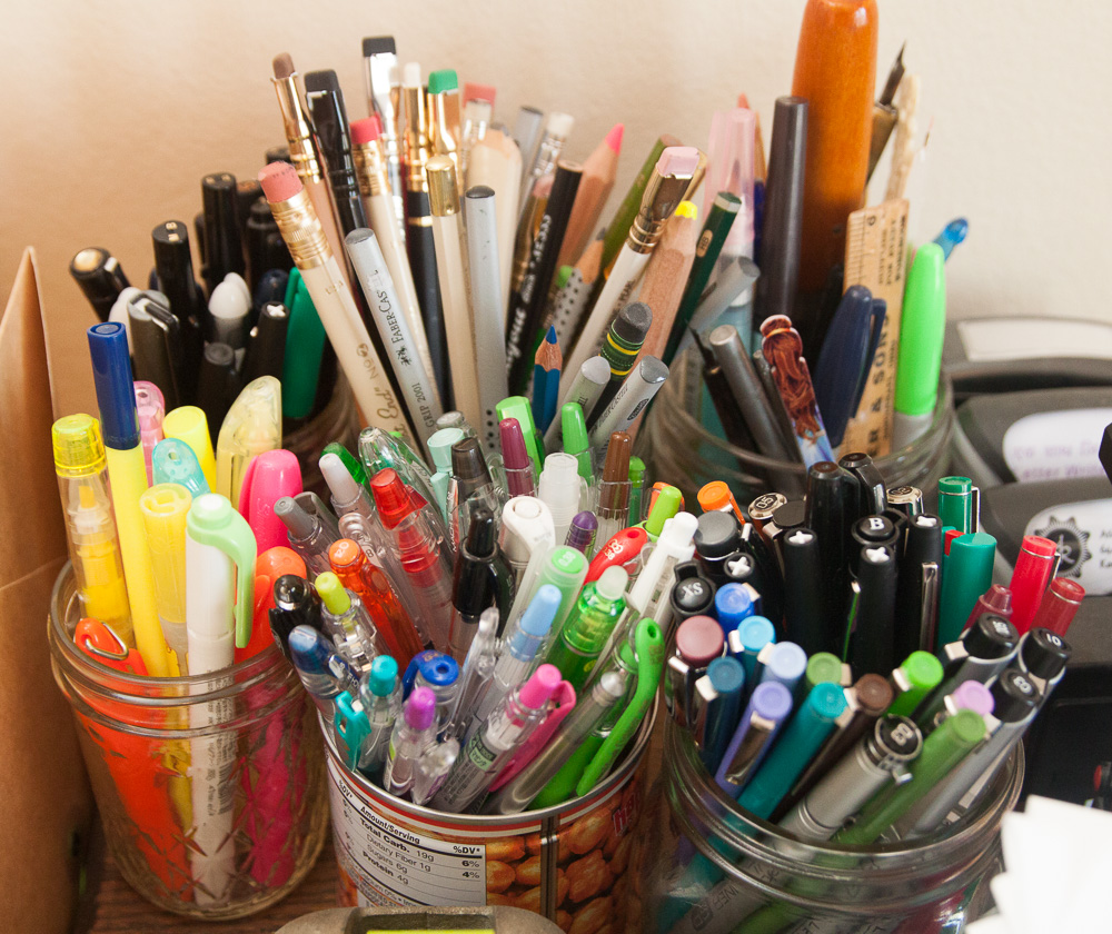 jars for pencil and pen storage