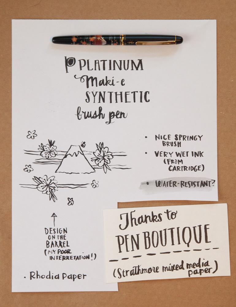 Platinum Maki-E Brush Pen Writing Sample
