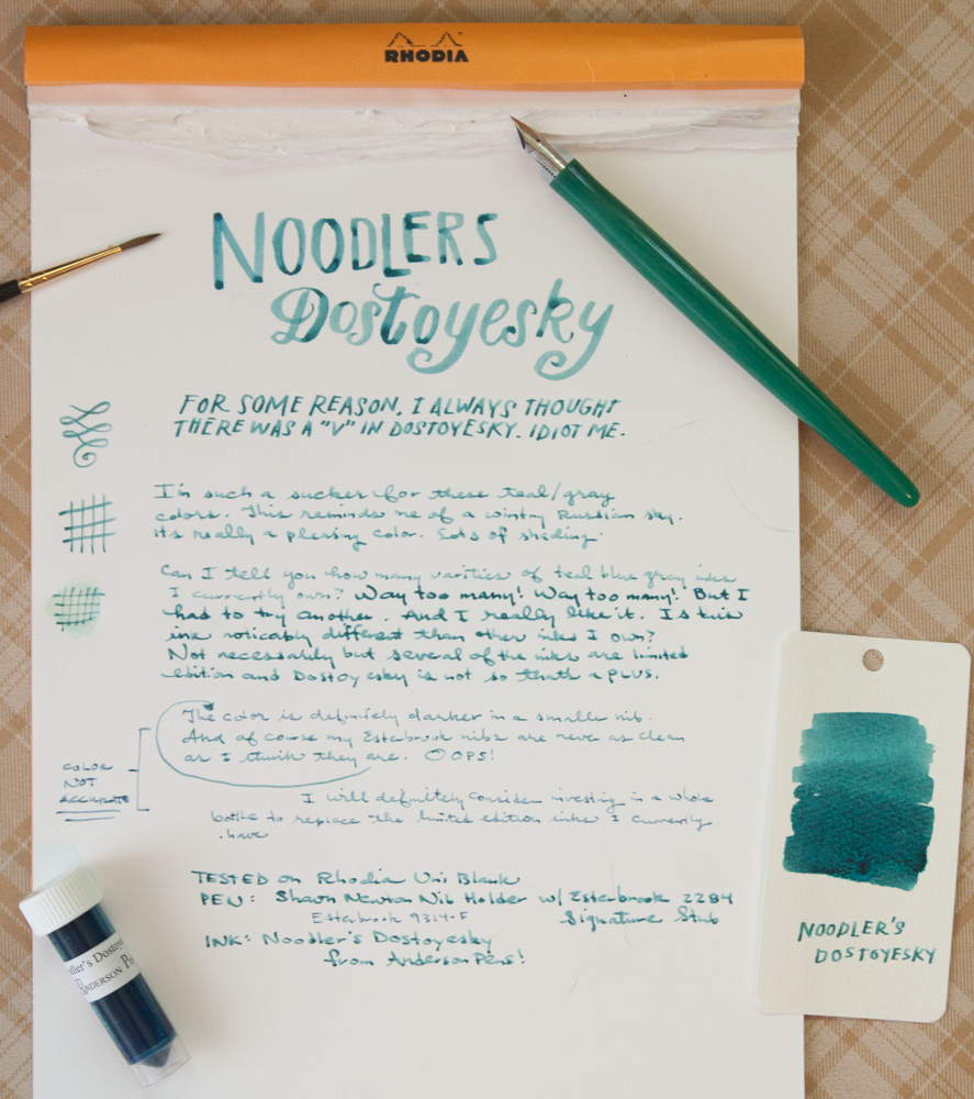 Noodler's Dostoyevsky writing samples